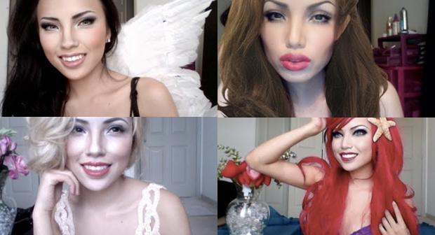 Tamang Phan e suas maquiagens (Foto: Youtube)