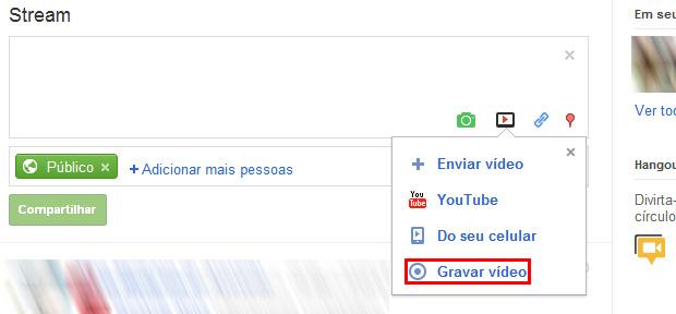 Uma das novidades do Google + é possiblitar que o usuário grave vídeos com a webcam  (Foto: Reprodução)