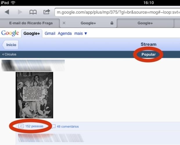 """A opção """"Popular"""" exibe lista com os posts mais comentados e compartilhados do serviço social  (Foto: Reprodução)"""