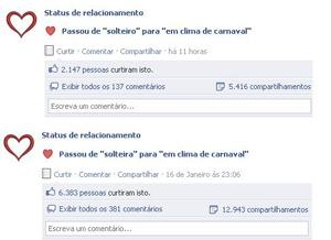 Os status que falam sobre o carnaval são os mais compartilhados pelos usuários (Foto: Reprodução)