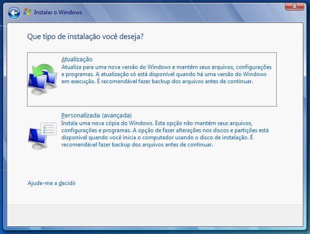 Atualização do Windows Vista para o 7 (Foto: Reprodução Verônica Vasque)