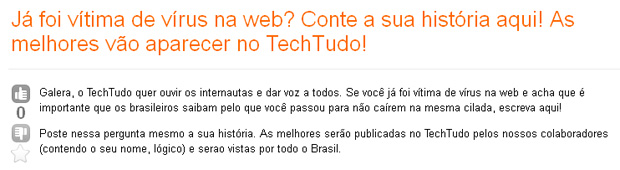 Pergunta no fórum (Foto: Brasil sem Vírus)
