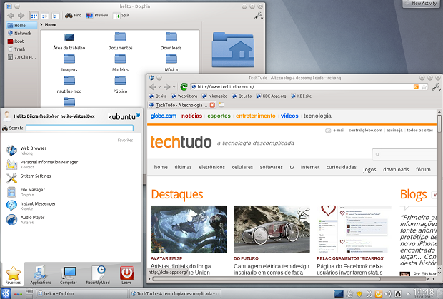 Ubuntu 11.10 com KDE (Foto: (Foto: Reprodução/ Helito Bijora))