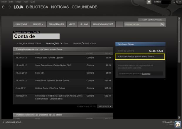 Histórico de compras do usuário, onde é possível adicionar créditos ao Steam (Foto - Reprodução)