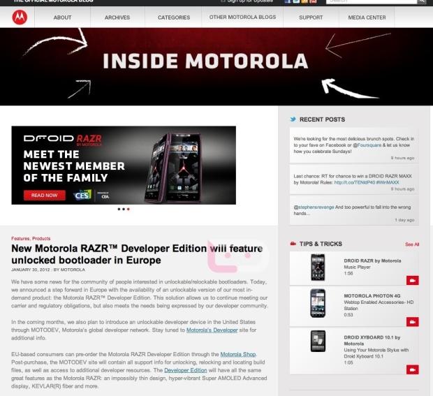 Motorola anuncia o lançamento do RAZR Developer Edition (Foto: Reprodução/Motorola Europe)