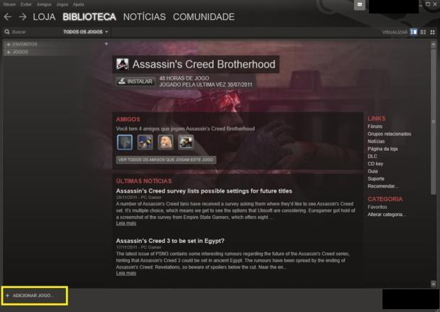 Página da biblioteca de jogos, onde se adiciona jogos físicos (Foto - Reprodução)