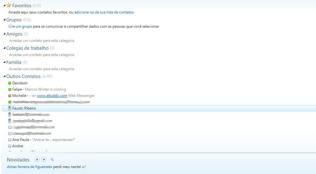 Lista de contatos do MSN (Foto: Reprodução Verônica Vasque)