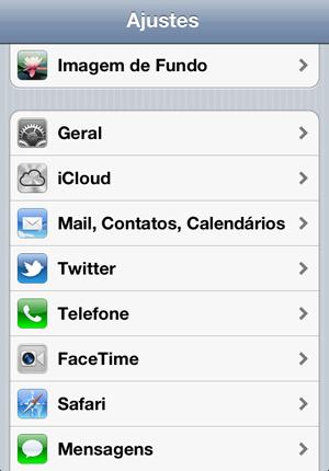 Tela de Ajustes do iPhone (Foto: Reprodução)