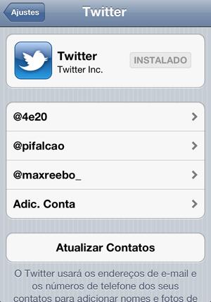 Tela de configuração do Twitter (Foto: Reprodução)