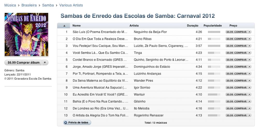 iTunes Store anuncia o samba enredo das escolas de samba de 2012 (Foto: Reprodução)