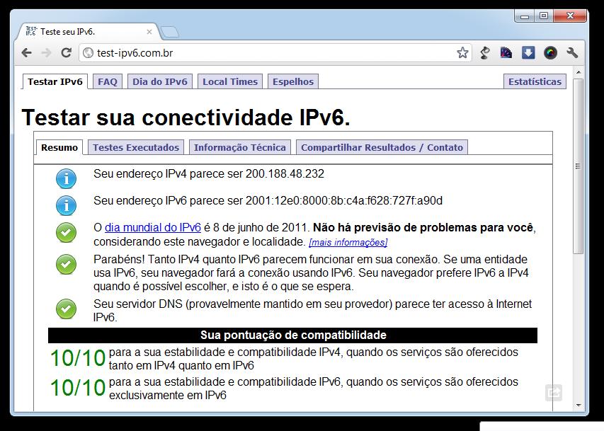 IPv6 em funcionamento na rede da Campus Party 2012 (Foto: Reprodução)