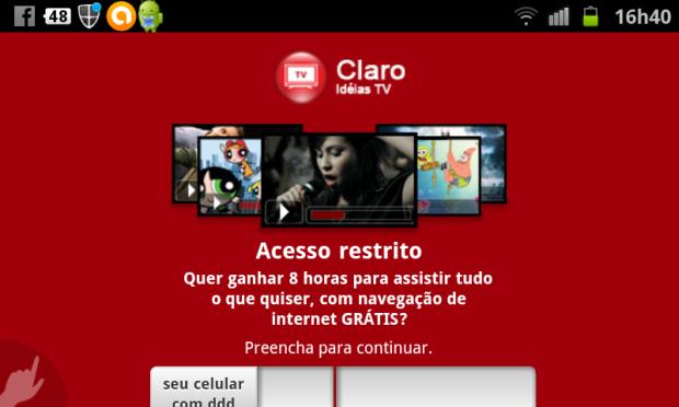 Claro oferece degustação do Ideias TV para usuários conhecerem o serviço (Foto: Eduardo Moreira/TechTudo)