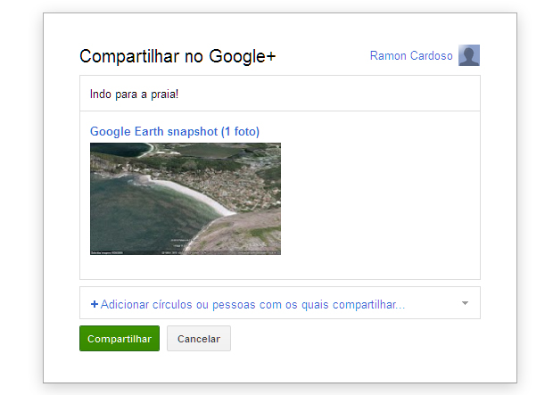 Compartilhando a foto do Google Earth no Google+