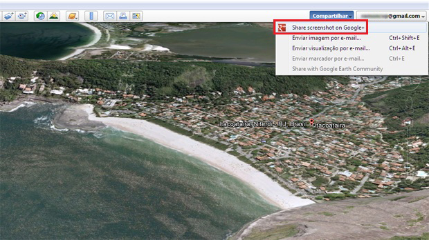 Compartilhando uma foto do Google Earth no Google+