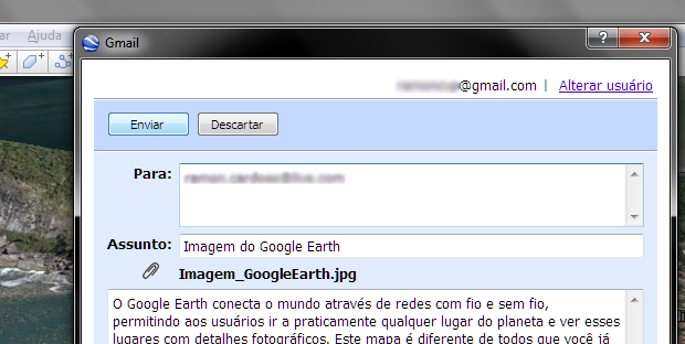 Enviando a imagem do Google Earth por e-mail