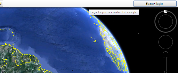 Fazendo login na conta Google dentro do Google Earth