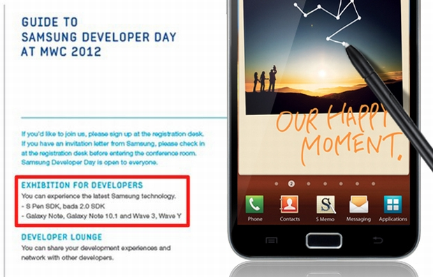 Anúncio de evento para desenvolvedores confirma presença do Galaxy Note 10.1 na MWC 2012 (Foto: Reprodução/Blog Samsung)