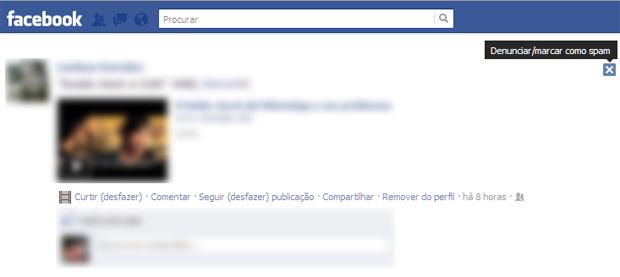 Opção para denunciar a marcação em uma publicação do Facebook