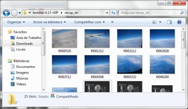 Arquivos recuperados pelo PhotoRec (Foto: Reprodução/Emerson Alecrim)
