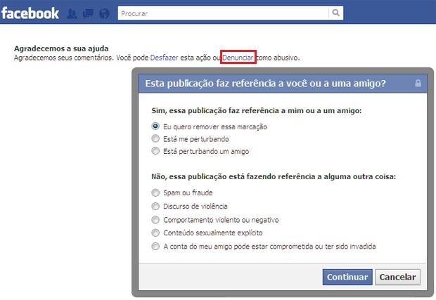 Removendo a marcação de um check-in do Facebook