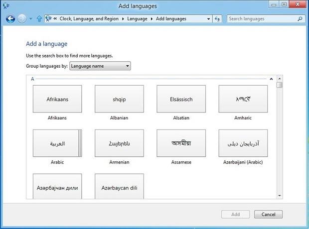 Opções de idioma do Windows 8 (Foto: Reprodução/Microsoft)
