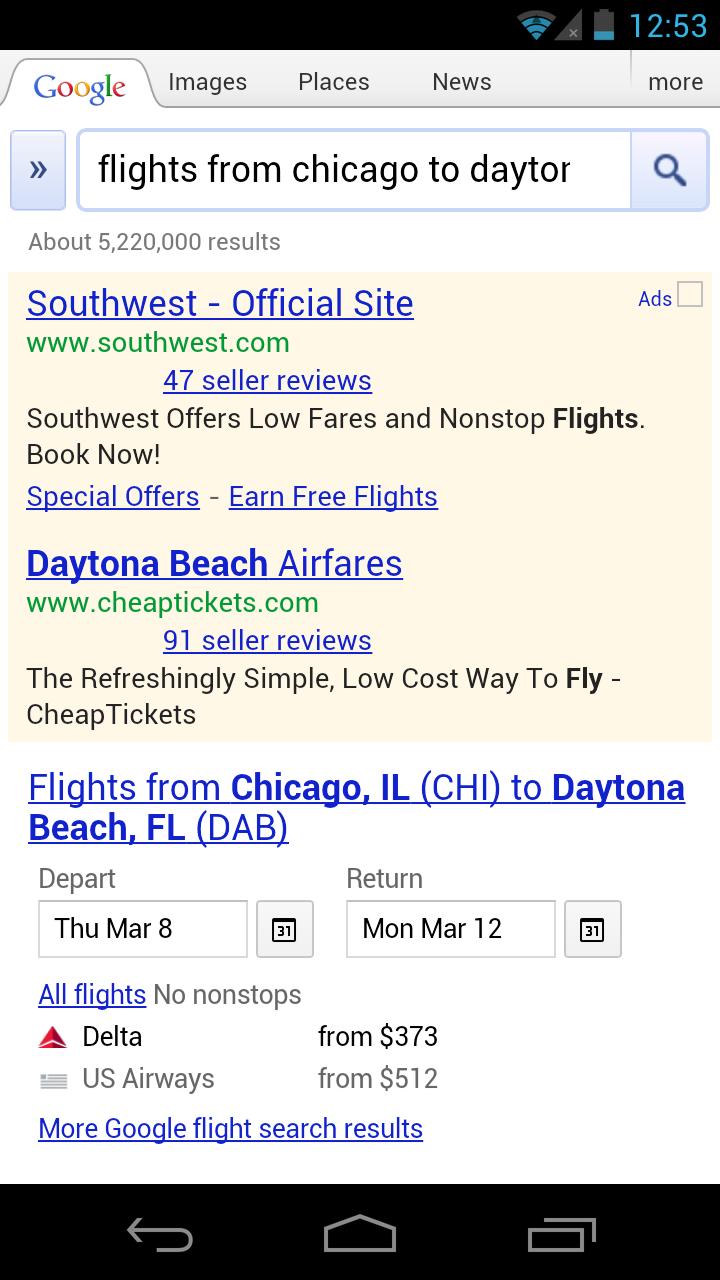 Flight Search do Google no smartphone (Foto: Reprodução/Inside Search)