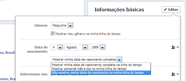 Alterando a exibição da data de nascimento no perfilo do Facebook