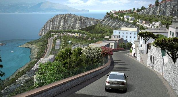 O belo circuito Costa di Amalfi em Gran Turismo 4 (Foto: Divulgação)