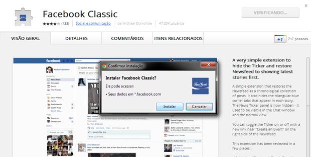 Instalando a extensão Facebook Classic