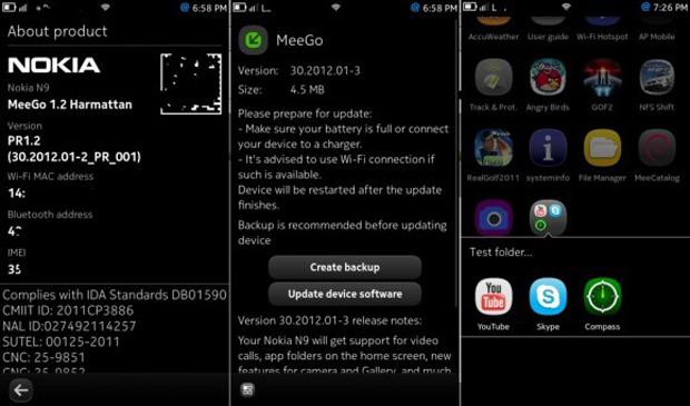 Print da tela mostra atualização do Meego 1.2 no Nokia N9 (Foto: Reprodução)