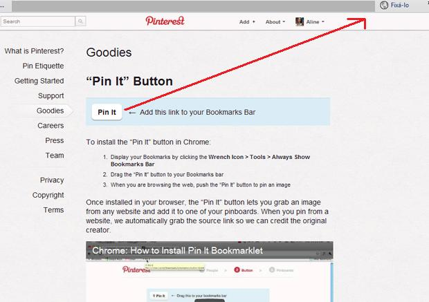 Pinterest botão PIN