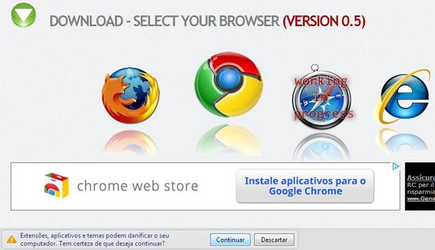 Selecionando o navegador para a instalação da extensão Timeline Remove