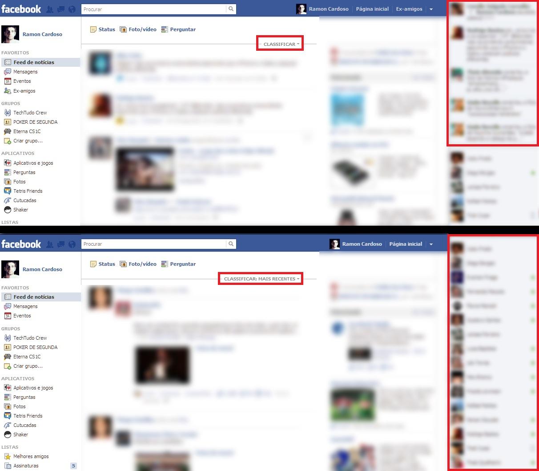 Visualização do Feed do Facebook antes e depois do Facebook Classic