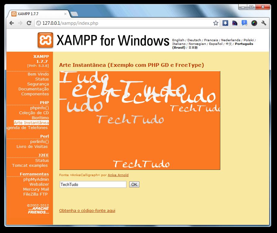 O que xampp e para que serve dicas e tutoriais techtudo script de exemplo do xampp foto reproduopaulo higa stopboris Gallery