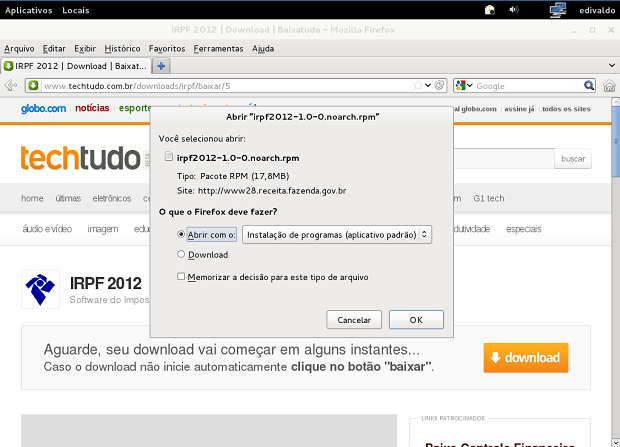 Baixando o IRPF para o Fedora Linux (Foto: Reprodução Edivaldo Brito)