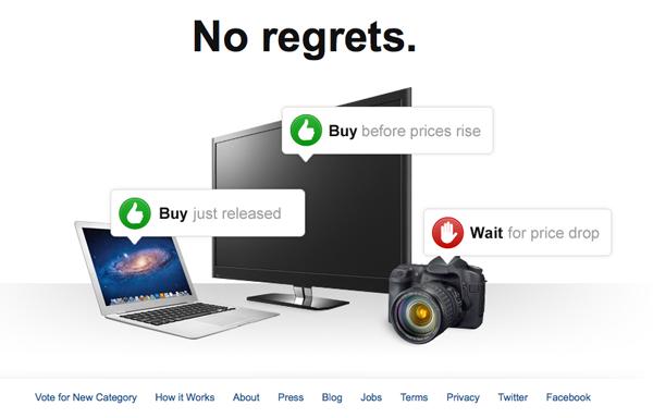 O site mostra a hora de esperar ou comprar um aparelho eletrônico