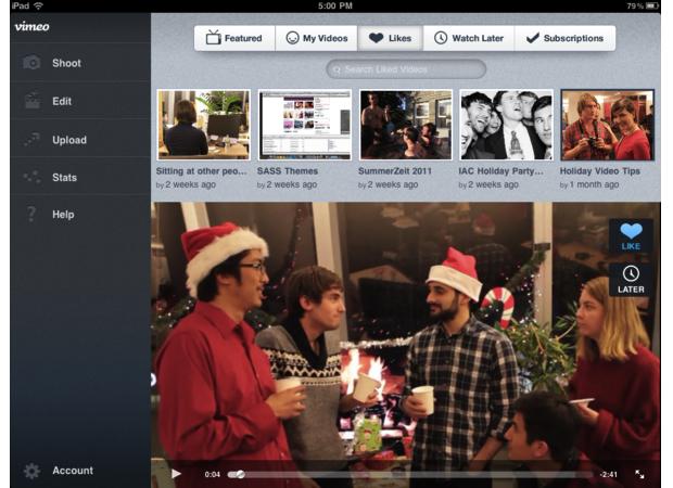 Aplicativo do Vimeo otimizado para iPad (Foto: Reprodução)