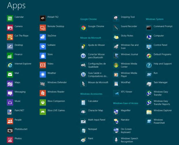 Todos os apps do Windows 8 (Foto: Reprodução/Helito Bijora)