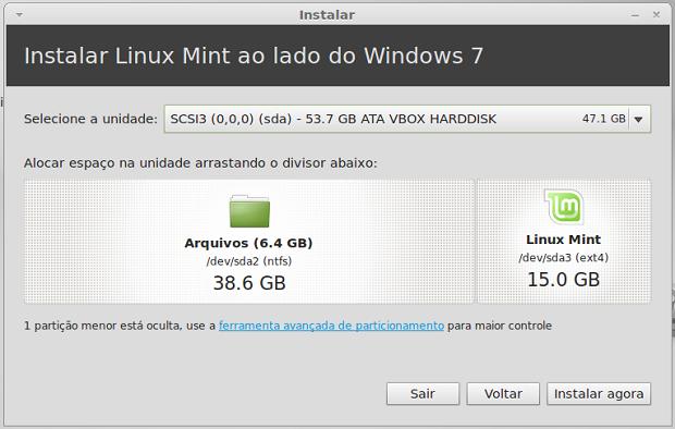 Configurando o Mint em dual boot com o Windows 7 (Foto: Reprodução/Helito Bijora)