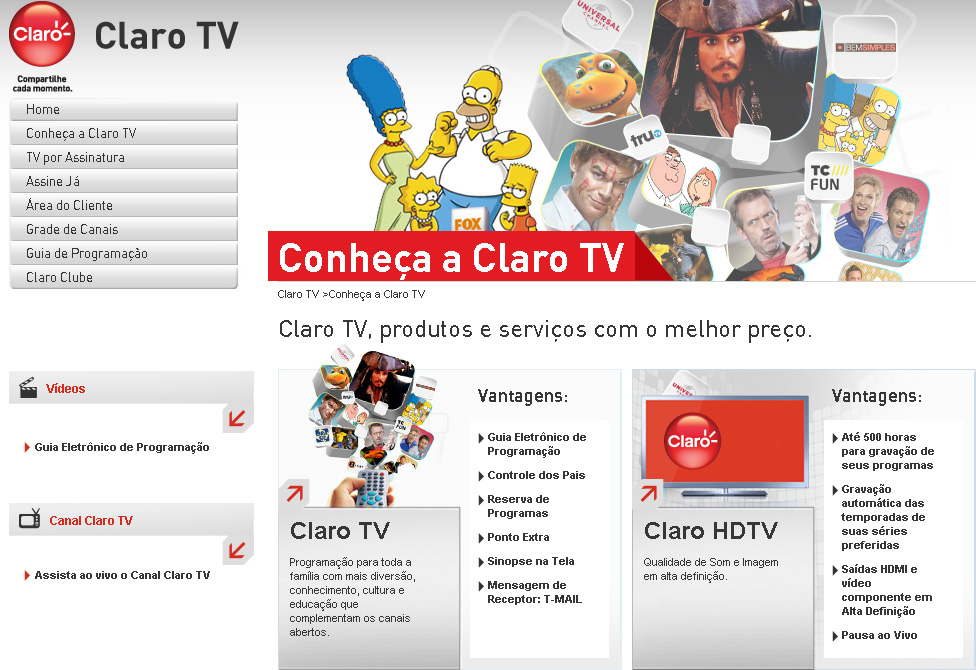 O novo site da Claro TV apresenta a grade de canais e pacotes disponíveis (Foto: Reprodução)