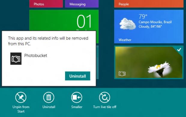 Removendo um aplicativo no Windows 8 (Foto: Reprodução/Helito Bijora)