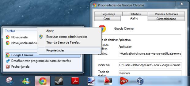 Propriedades do Google Chrome (Foto: Reprodução/Helito Bijora)