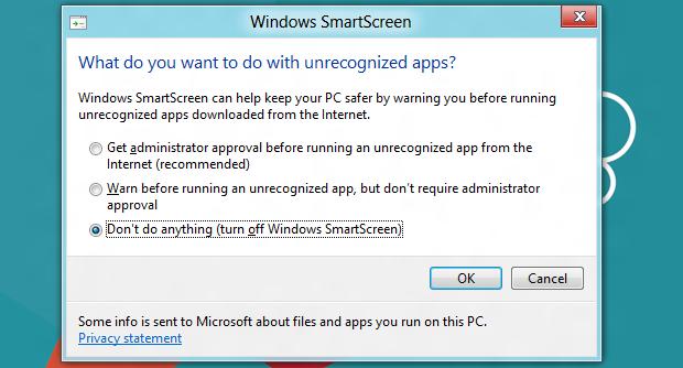 Desativando o SmartScreen (Foto: Reprodução/Helito Bijora)