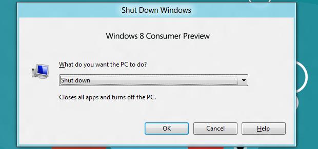 Desligando o Windows 8 (Foto: Reprodução/Helito Bijora)