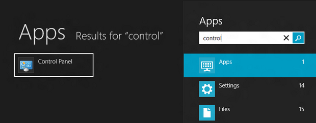 Utilize a busca do Windows 8 para encontrar o painel de controle clássico (Foto: Reprodução/Paulo Higa)