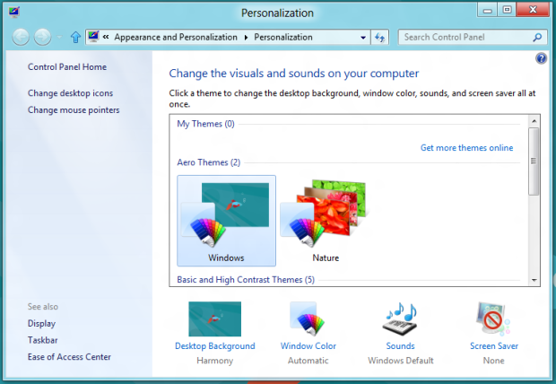 Temas do Windows 8 (Foto: Reprodução/Helito Bijora)