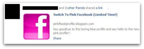 Aplicativo oferece Facebook na cor rosa (Foto: Reprodução)