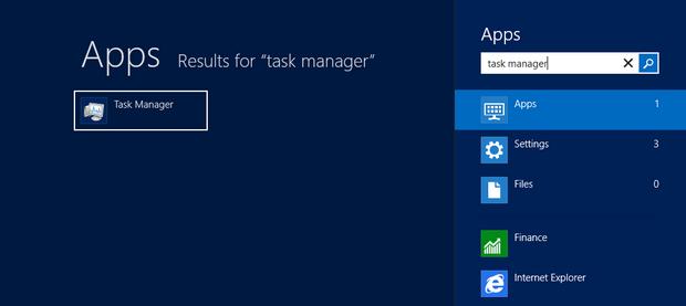 Procure pelo gerenciador de tarefas com a busca integrada do Windows 8 ou utilize a combinação de teclas Ctrl+Shift+Esc (Foto: Reprodução/Paulo Higa)