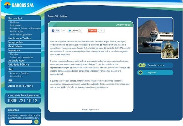 Site da Barcas S.A. hackeado (Foto: Reprodução)