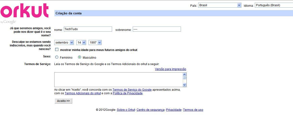 Página para inserir seus dados pessoais (Foto: Reprodução/Monique Mansur)